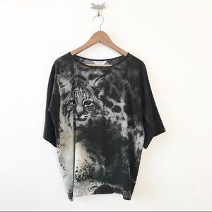 ** MaxMara ** black and white cat blouse